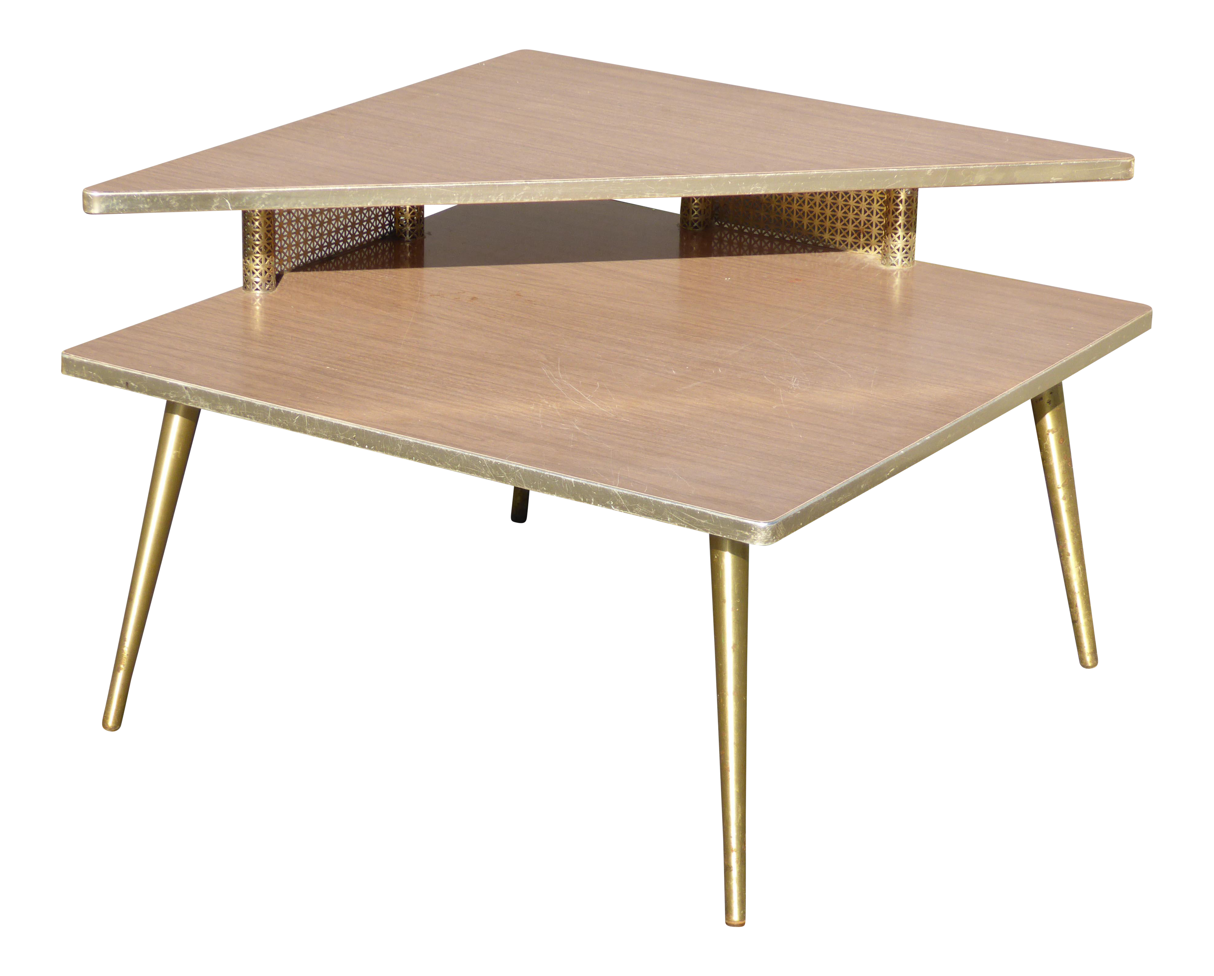 Beau Mid Century Modern Retro Corner Table /End Table With Brass Peg Legs For  Sale
