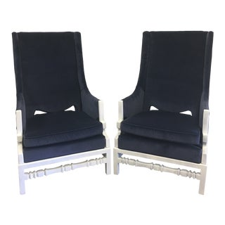 Vintage Mid Century Velvet Greek Key Arm Chairs- A Pair For Sale