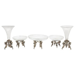 Silvered Bronze and Cut Glass Five-Piece Table Garniture Attributed to Baccarat For Sale