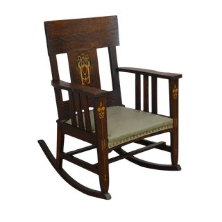 Antique Mission Oak Rocker With Arts & Crafts Stenciling For Sale