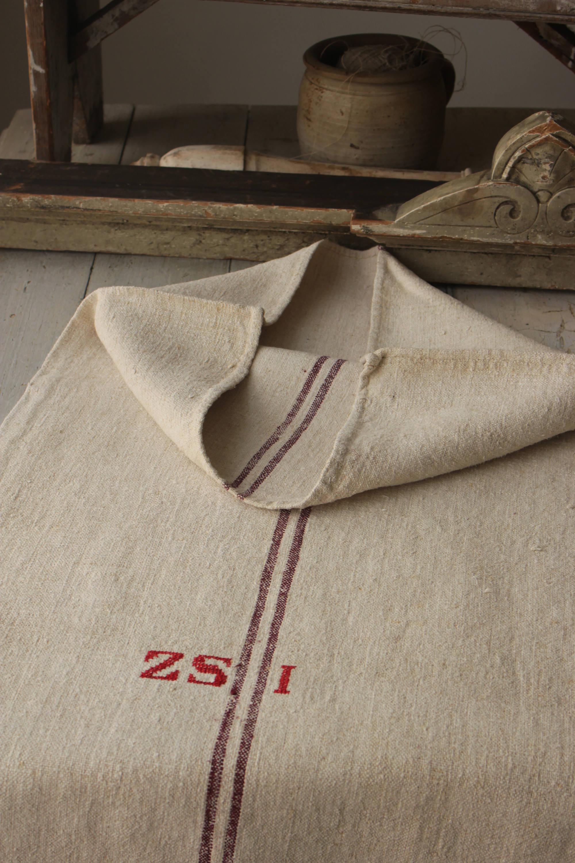 Feed Bag Grain Sack Grainsack Linen Red SZP Monogram hemp plain natural toned textile European washed bag timeworn primitive fabric