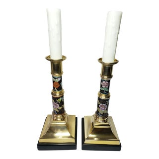 Vintage Frederick Cooper Brass Flower Inlay Imari Style Porcelain Candlestick Lamps - a Pair For Sale