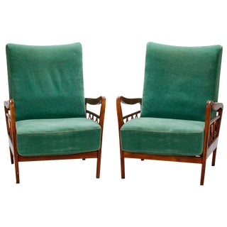 Pair Italian Mid Century Paolo Buffa Style Open Work Lounge Chairs For Sale