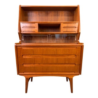 Vintage Danish Mid Century Modern Teak Secretary Desk For Sale