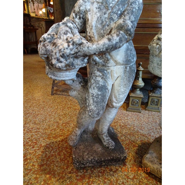 Pair of Vintage French Stone Statues For Sale - Image 10 of 13
