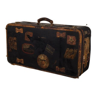 Antique Luggage With Original Travel Stickers C.1900-1930 For Sale