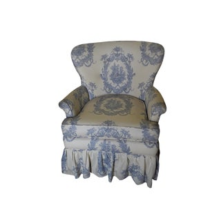 Vintage French Toile Ladies Armchair French Country Toile Fauteuil French Provicial Armchair French Provencal Fauteuil For Sale