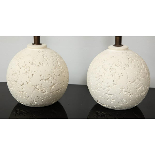 Mid-Century Modern Pair of Textured Custom Circular Plaster Lamps For Sale - Image 3 of 8