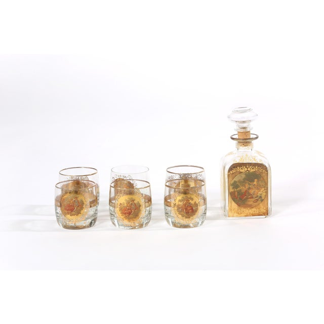 Vintage Italian barware / tableware service for six people . Include six whiskey or scotch glass with one decanter . Each...