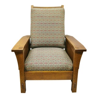 Late 20th Century Stickley Mission Oak Arts & Crafts Adjustable Spindle Morris Lounge Arm Chair For Sale