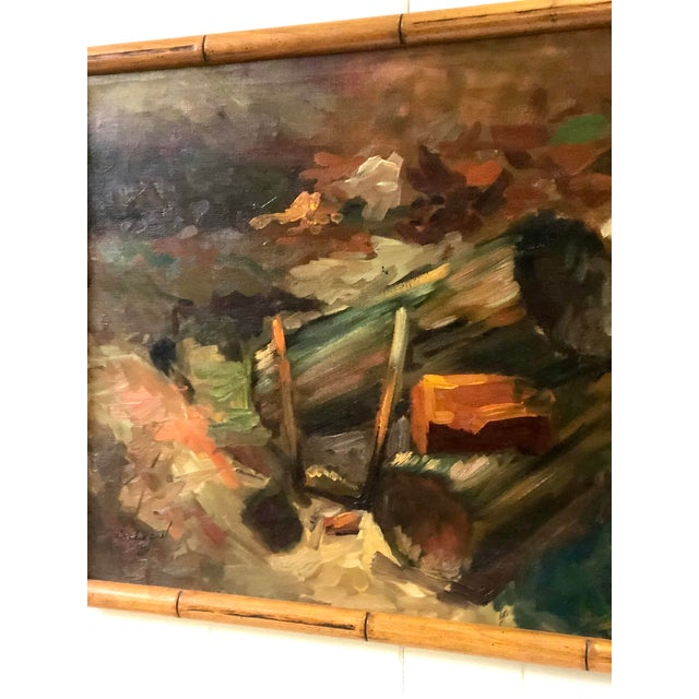 Cabin Vintage Impressionistic Campfire Painting For Sale - Image 3 of 9