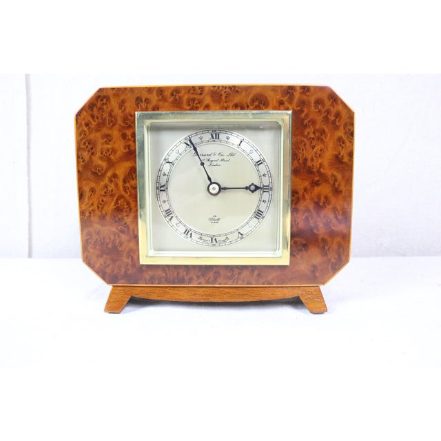 Wood English Deco Burl Walnut Clock For Sale - Image 7 of 7