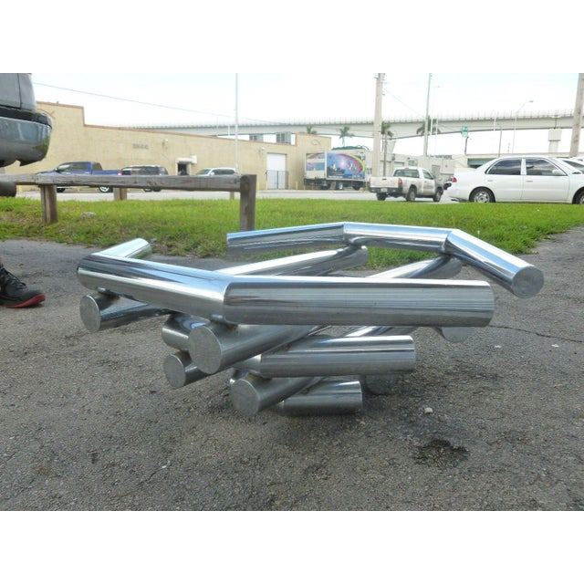 Incredible 70's Stacked Architectural Chrome Tubular Coffee Table Base For Sale In Miami - Image 6 of 9