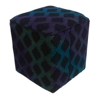 Arshs Donny Blue/Purple Kilim Upholstered Handmade Ottoman For Sale