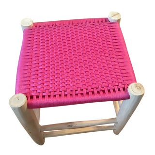 Modern Moroccan Fuchsia Stool For Sale
