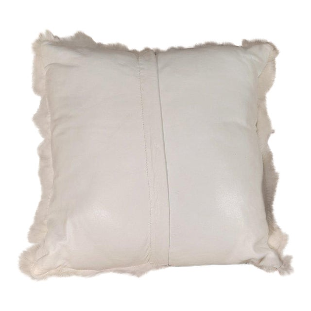 White Fox Fur Pillow with White Leather Back For Sale