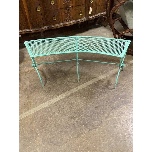 Mid-Century Modern Salterini Style Curved Iron Garden Bench For Sale - Image 4 of 6