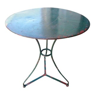1920's French Wrought Iron Bistro or Patio Table For Sale