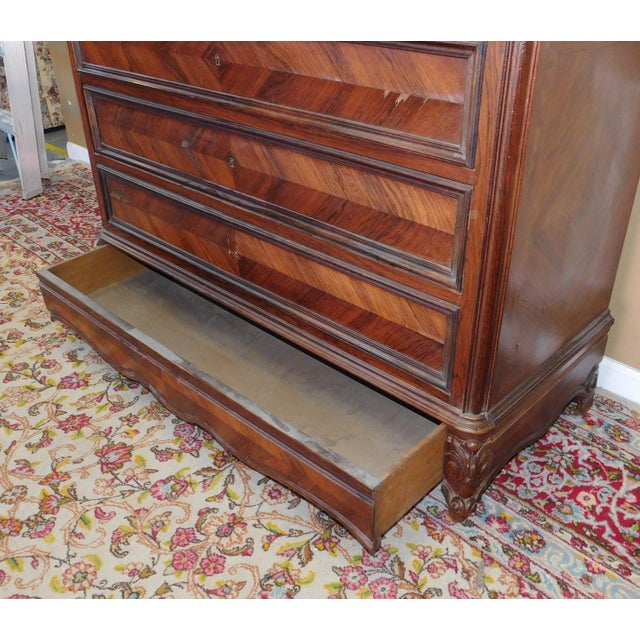 Marble Antique Carved French Directoire Style Black Marble Top Walnut 5 Drawer Chest c1890 For Sale - Image 7 of 11
