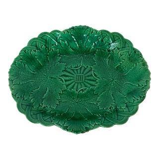 Antique Victorian Wedgwood Green Vine Leaf Majolica Pottery Basket Dish, C.1880 For Sale
