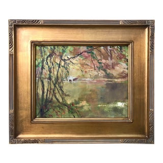 Vintage American Impressionist Oil Painting Lake Fall Color by Harry Barton For Sale