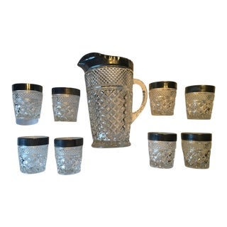 Vintage Kingsford Crystal Tumblers Glasses With Pitcher - Set of 9