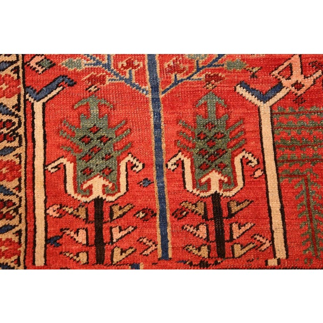 Antique Heriz Persian Rusty Red Background Rug - 9′7″ × 11′7″ For Sale - Image 4 of 11