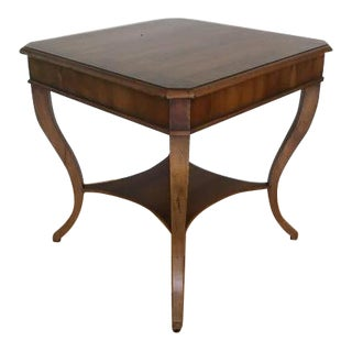 Dessin Fournir Empire Banded Flame Mahogany Side Table With Shelf Stretcher For Sale