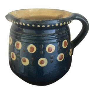 Antique French Country Jaspe Redware Pitcher For Sale
