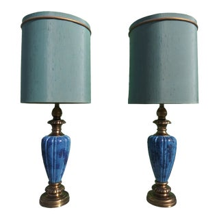 Mid Century Modern Blue Glaze Table Lamps with Shades by Rembrandt - a Pair For Sale