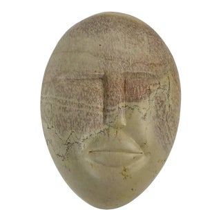 Kenyan Carved Stone Face Trinket Box For Sale