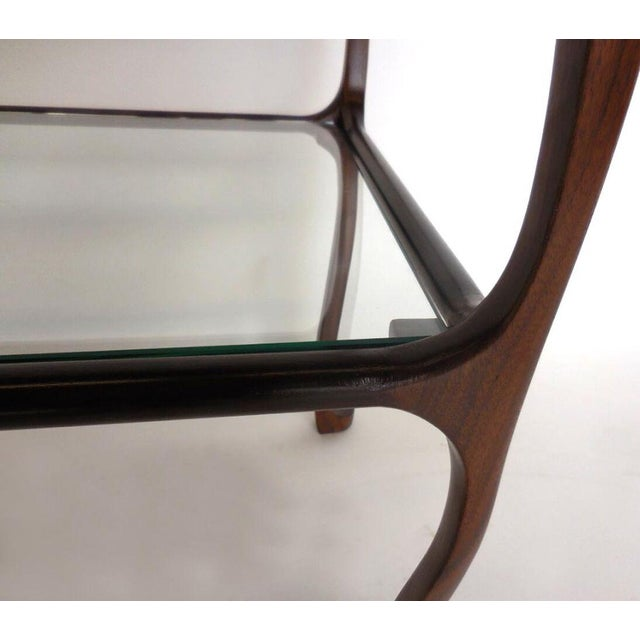 Custom Curvy Side Table in Walnut Wood For Sale In Los Angeles - Image 6 of 8