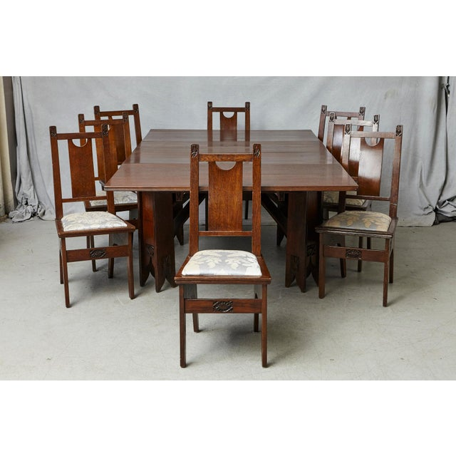 A very important and rare complete Art Nouveau dining room set, table and eight chairs, designed by the architect Ernesto...