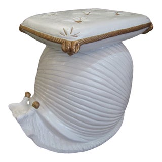 1970s Pillow Topped Snail Garden Seat For Sale
