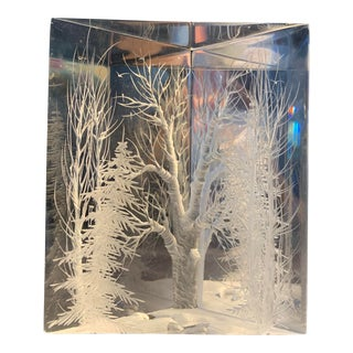 Realist Lucite Winter Wonderland With Birds and Stream 3D Sculpture For Sale