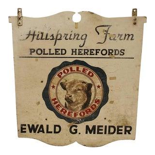 1950's Vintage Wood Bull Hillspring Farm Sign For Sale