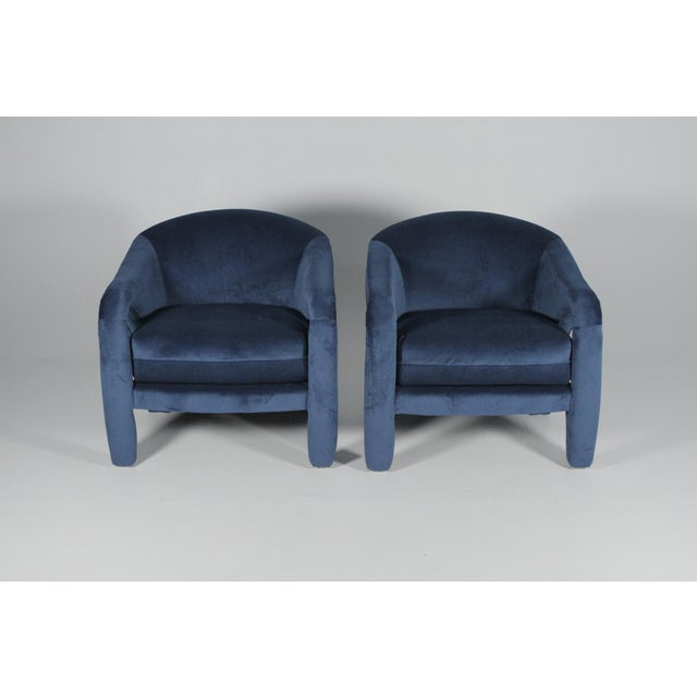 1970s Sculptural Chairs Vladimir Kagan, reupholstered in vibrant Indigo blue velvet in mint condition. No flaws. Truly a...