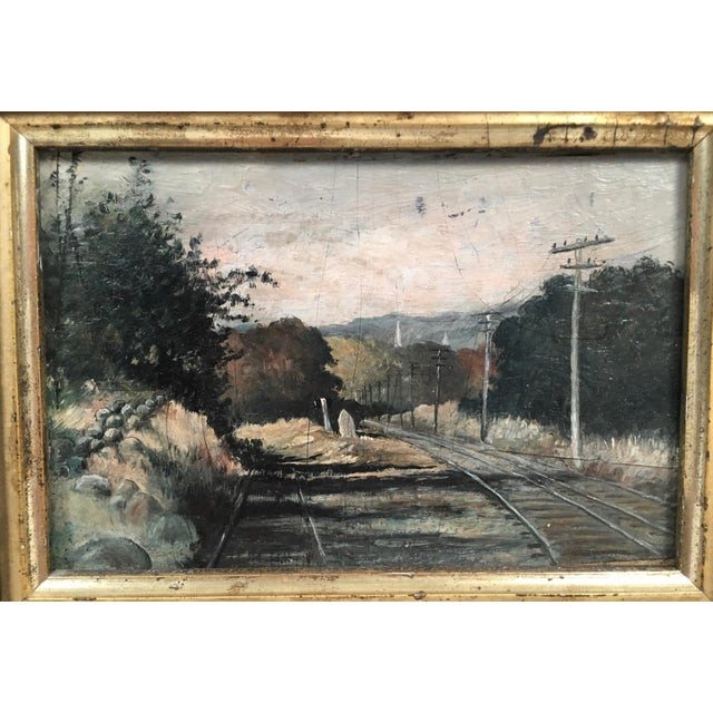 19th Century Small Landscape Painting with Railroad Tracks and Telegraph Poles For Sale In Boston - Image 6 of 10