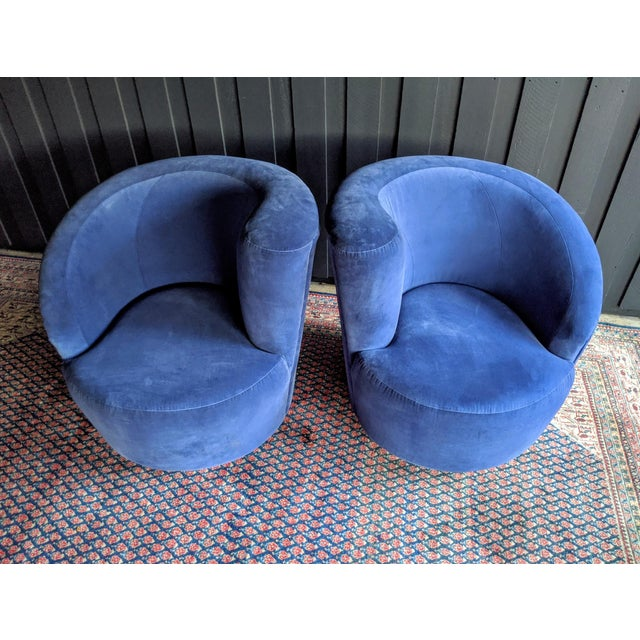 Directional Vladimir Kagan Nautilus Swivel Chairs Reupholstered in Blue Velvet, a Pair For Sale - Image 4 of 13