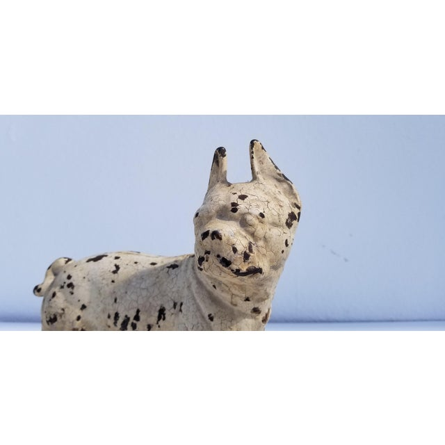 1930s 1930s Vintage White Cast Iron Boston Terrier Dog Sculpture / Doorstop For Sale - Image 5 of 11