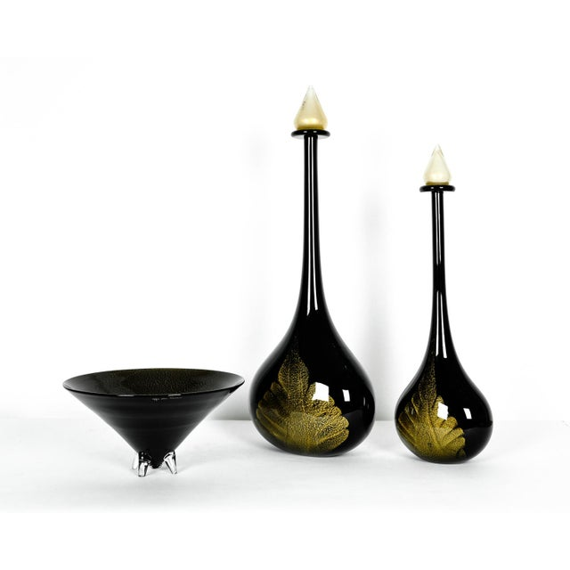 Large Mid Century Modern Art Deco Style Murano Glass Pieces - Set of 3 For Sale - Image 9 of 9
