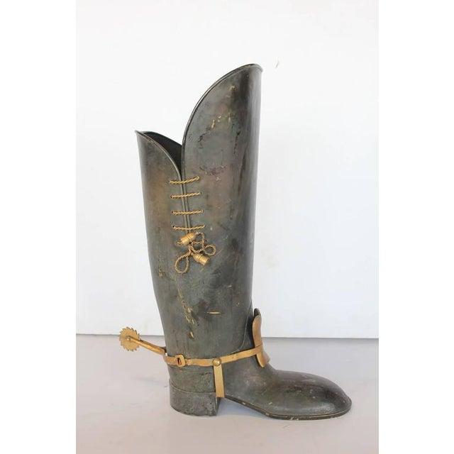 Rustic Mid-Century Italian Brass Umbrella Stand For Sale - Image 3 of 3