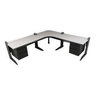 Mid-Century Modern George Nelson Inspired Modular Aluminum L-Shaped Executive Desk by Haworth For Sale