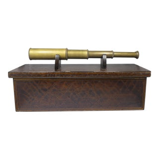 Sarreid Ltd Casket Box With Brass Telescope For Sale
