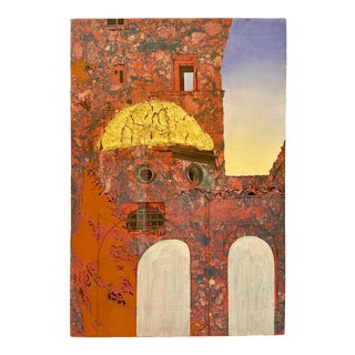 Late 20th Century Surrealist Style Architectural Landscape Painting For Sale