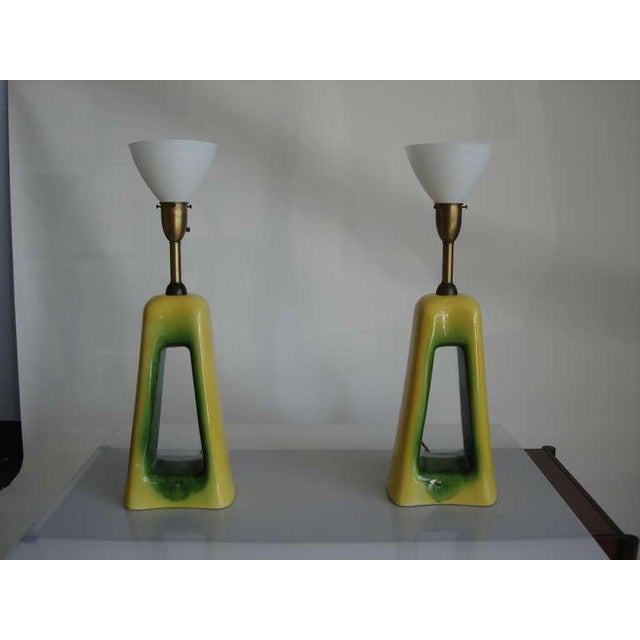 Pair of Oversized Mid-Century Ceramic Lamps For Sale - Image 4 of 6