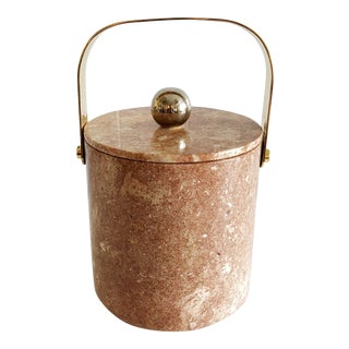 1980s Vintage Marble & Brass Ice Bucket For Sale