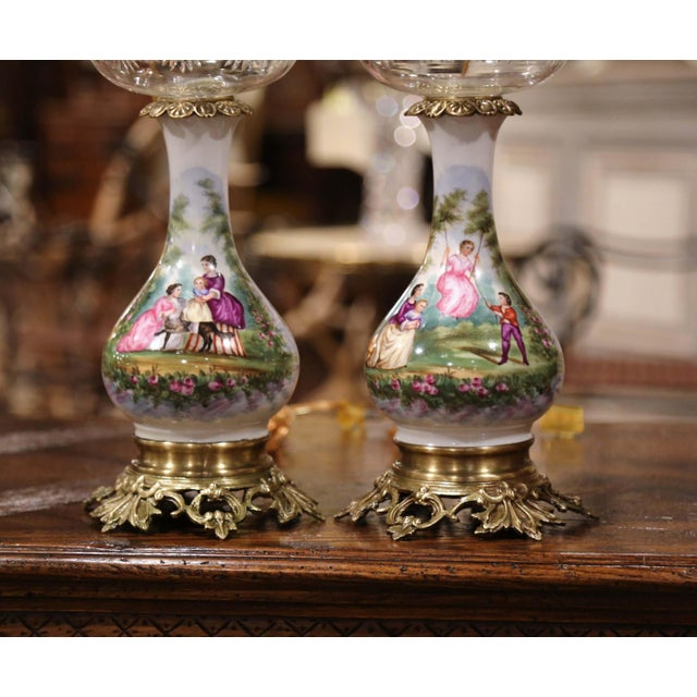 French Pair of 19th Century French Porcelain, Bronze, Brass and Cut Glass Table Lamps For Sale - Image 3 of 12