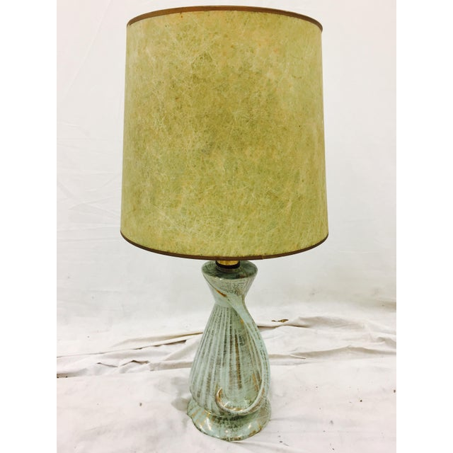 Vintage Mid-Century Modern Atomic style gold flecked blue and green glazed ceramic lamp with original drum shaped...