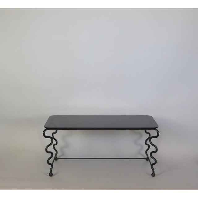 'Serpentine' Coffee Table With Black Glass Top For Sale - Image 13 of 13